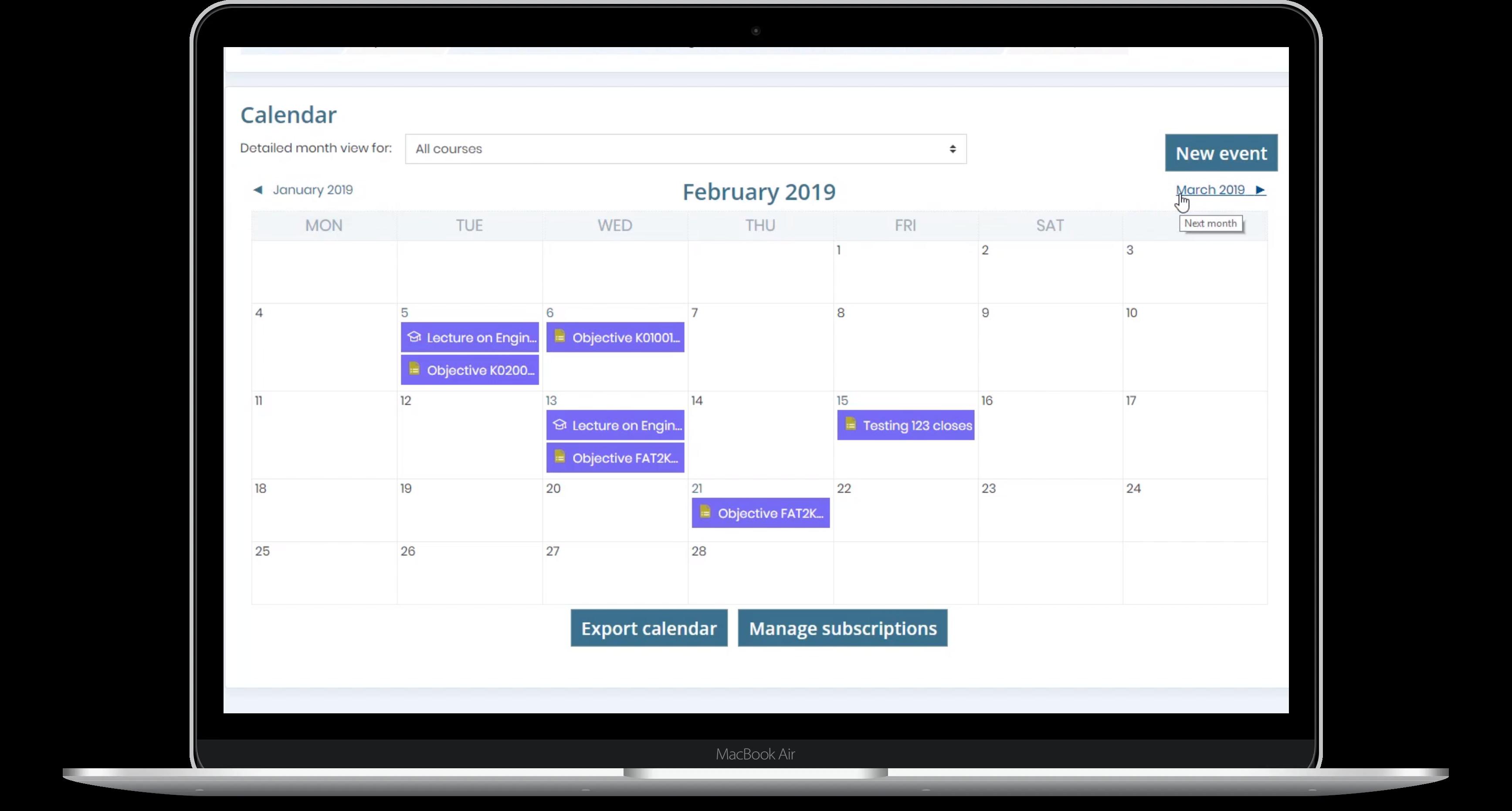 course calendar laptop image